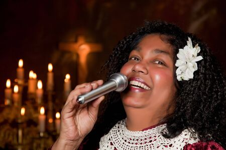 hymn: spiritual gospel singer singing a hymn Stock Photo