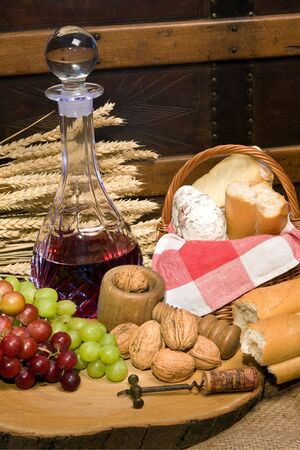 Setting of country food and red wine Stock Photo - 5049432