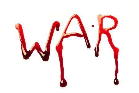 Word war written in bloody red letters photo