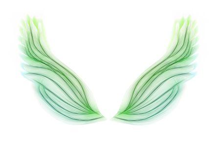 ali angelo: Soft colore verde serie di ali di fata su bianco