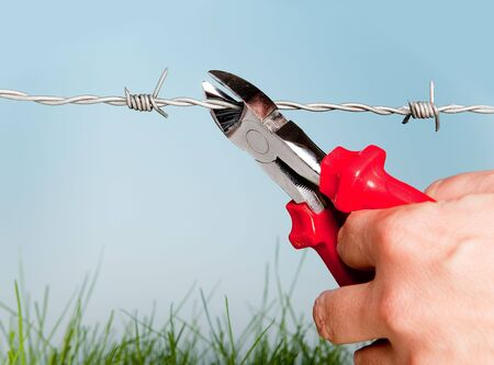 Hand cutting barbed wire to escape for freedom