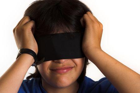 ojos vendados: Ni�o de los ojos vendados Foto de archivo