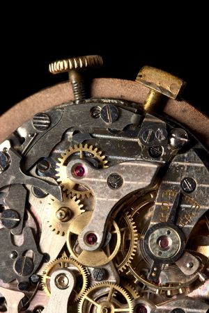 Inside of an antique stopwatch photo