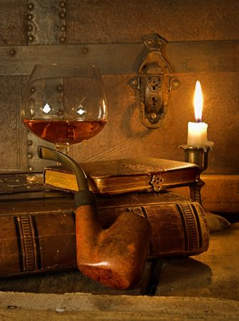 The good life, cognac, book and pipe Stock Photo - 5155216