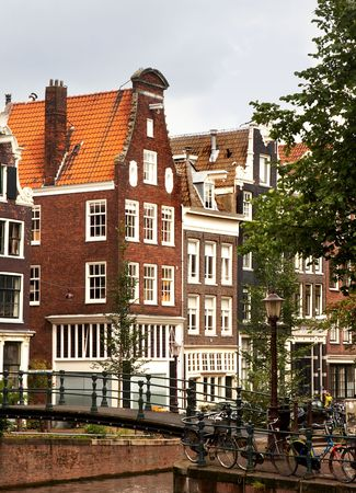 A bridge over one of Amsterdams canals photo