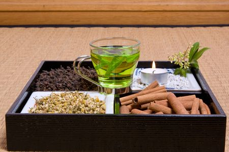 Various herbs on a japanese traditional tatami mat Stock Photo - 5185669
