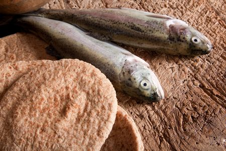 Still life of five loaves of bread and two fresh fish photo