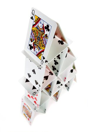 Pyramid or house of cards with four floors