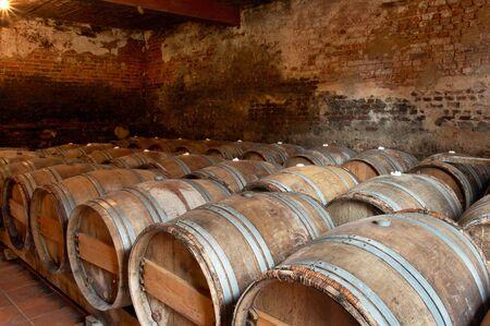 ferment: Wooden barrels in a wine cellar in a winery