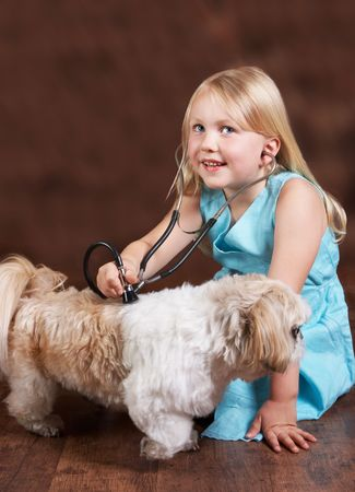 Little blond girl playing doctor with her Shih-tzu dog Stock Photo - 5237142