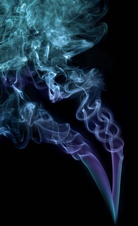 wisps: Two different blue wisps of smoke combined into an abstract figure
