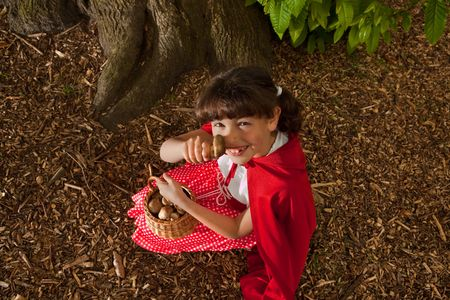 Little red riding hood picking mushrooms under a tree in the forest photo