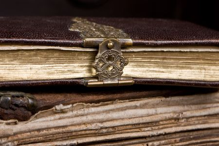 Very old diary with a bronze lock on it photo