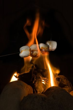 toasted: Stick with marshmallows held above burning fire