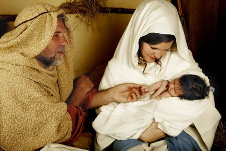 Living christmas nativity scene reenacted with a real 18 days old baby Stock Photo - 5420712