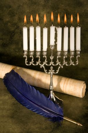 chanuka: Jewish hanukkah candle-holder, scroll and blue quill