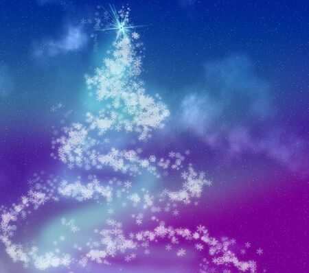 Graphic Christmas tree made of pastel snowflakes photo