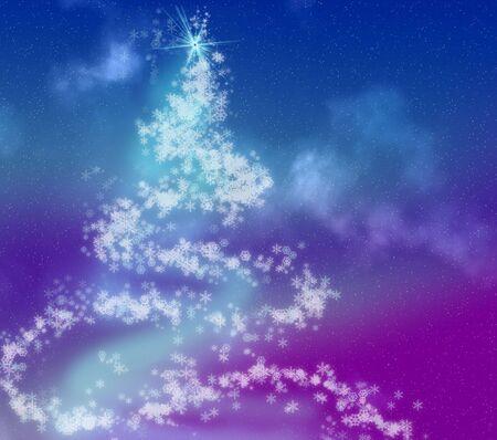 Graphic Christmas tree made of pastel snowflakes photo
