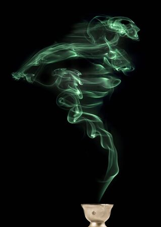 wisp: Green wisp of smoke, real smoke (not computer rendered) that looks like a ghost