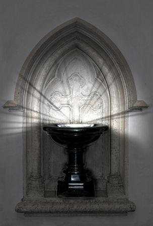 Baptismal font with mysterious lights shining Stock Photo - 5506158