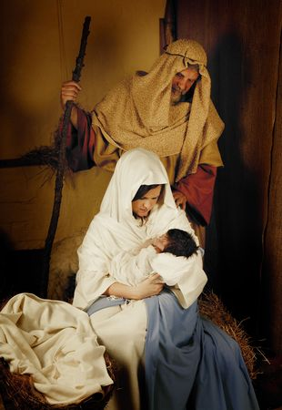 christmas religious: Living christmas nativity scene reenacted with a real 18 days old baby