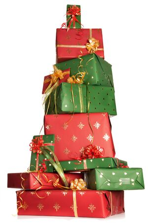 gift packs: High up tower of red and green christmas presents Stock Photo