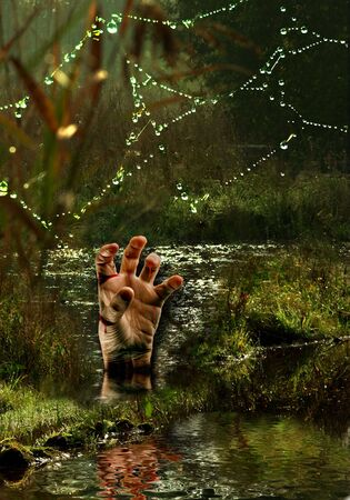 omen: Halloween nightmare, a bleeding hand coming out of the swamps