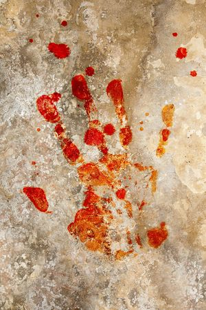Grung background with a print of a blood hand Stock Photo - 5535612