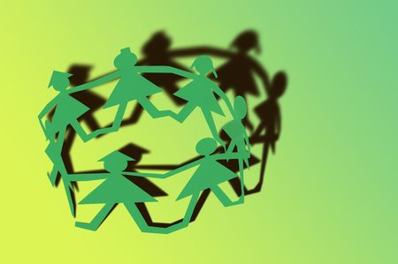 representing: Paper doll circle with long shadows, representing different races and people