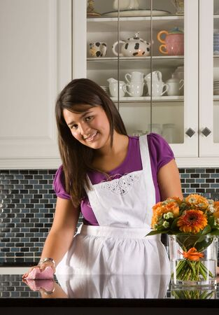 Young woman cleaning the kitchen with a cloth photo
