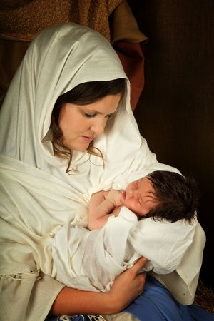 nascita di gesu: Vita natale nativit� reenacted con un bambino di et� reale 18 giorni Archivio Fotografico
