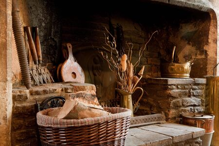 18th century rustic country fireplace in England photo
