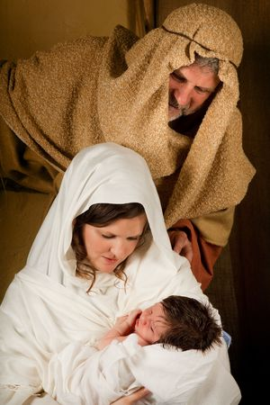 Living christmas nativity scene reenacted with a real 18 days old baby Stock Photo - 5635220