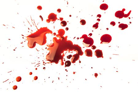 cut and blood: Splattered blood stains on a white background