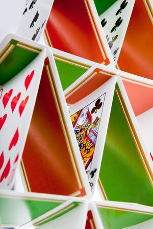 Closeup of a house built of playing cards Stock Photo - 5722234