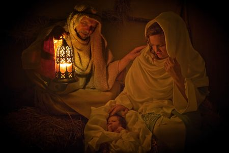 Living christmas nativity scene reenacted with a real 18 days old baby Stock Photo - 5766246