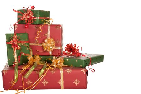 Stack of christmas presents in red and green Stock Photo - 5869654