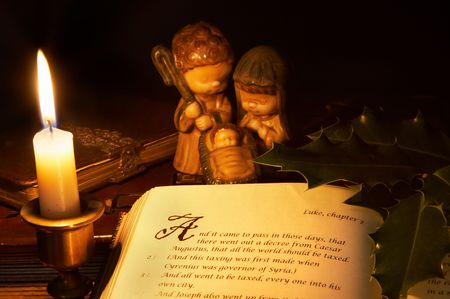 The story of the birth of Jesus in an old bible photo