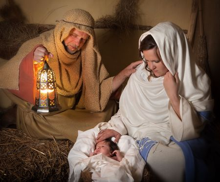 jesus mary joseph: Live reenactment of the christmas nativity scene