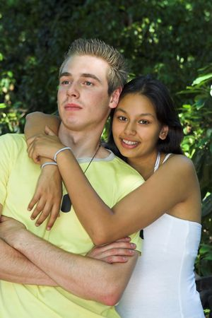 First love teenagers embracing Stock Photo - 6116471