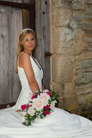 Young bride with blond hair and tiara Stock Photo - 6156031