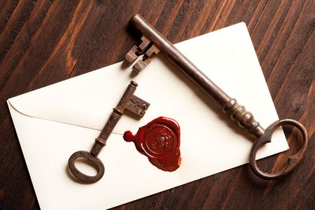 Sealed Valentine love letter with vintage rusty keys