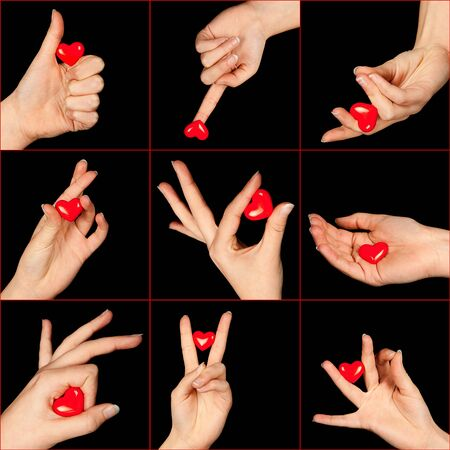 Valentine image of nine hands holding red hearts in different positions photo