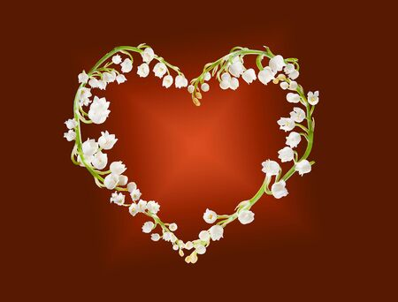 Heart shape made of lilly-of-the-valley flowers photo