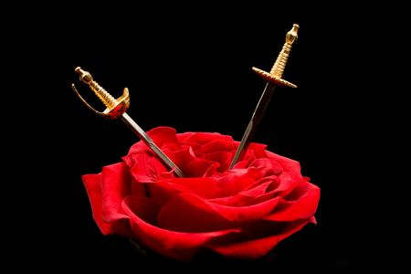 Two miniature swords cutting the heart of a red rose