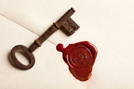 Sealed Valentine love letter with vintage rusty keys photo