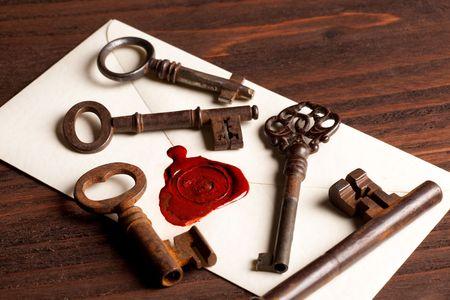 Sealed Valentine love letter with vintage rusty keys photo