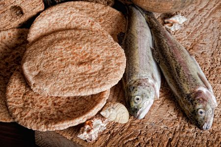 loaves: Five loaves of bread and two fish Stock Photo