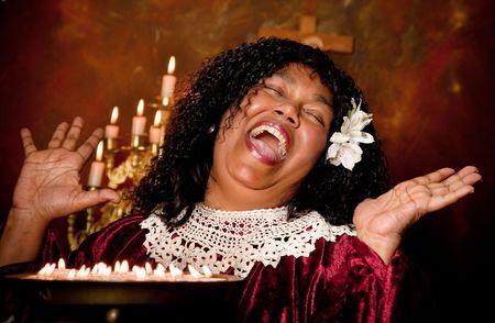hymnal: Vangelo spirituale cantante cantando un inno Archivio Fotografico