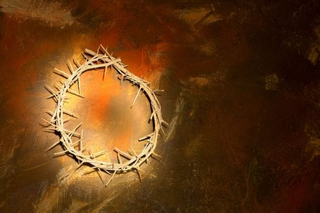 crown of thorns: Holy crown of thorns hanging on a grungy wall at Easter Stock Photo